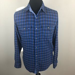 Marmot Blue Plaid Flannel Shirt Men's Medium M